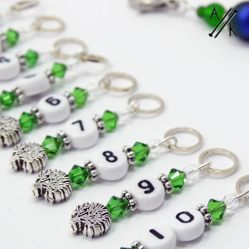 Swarovski Crystal & Silver Tree Counting Stitch Markers