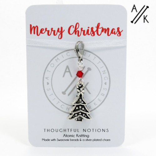 Merry Christmas Charm Progress Stitch Marker | Atomic Knitting