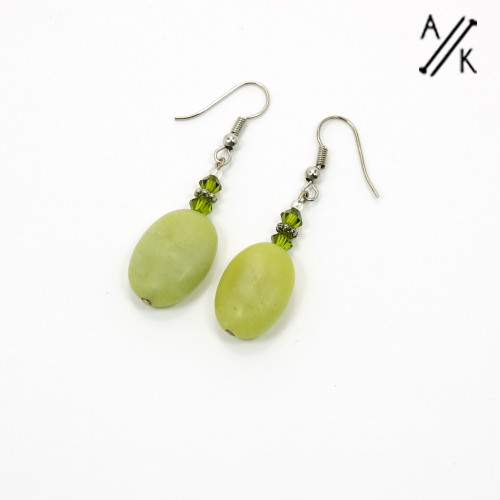 Lime Green Gemstone Earrings  | Atomic Knitting