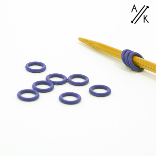 10 PURLPLE Thin Snag Free rubber ring stitch markers 4mm | Atomic Knitting