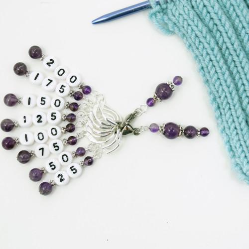 Amethyst Counting Stitch Marker Set | Atomic Knitting