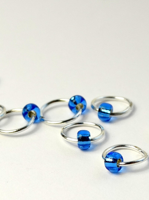 10 Burly Blue Tiny Bead Jewel Rings Lace Markers 4mm