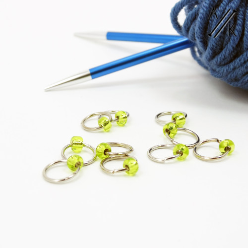 Lime Jewel Stitch Markers | Atomic Knitting