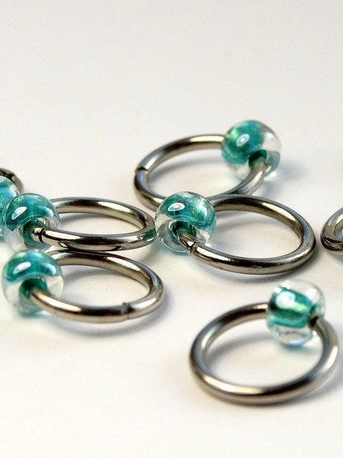 10 Sea Green Jewel Lace Markers 6mm