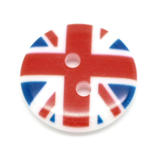 Round Acrylic Button - Union Jack Flag - 18mm