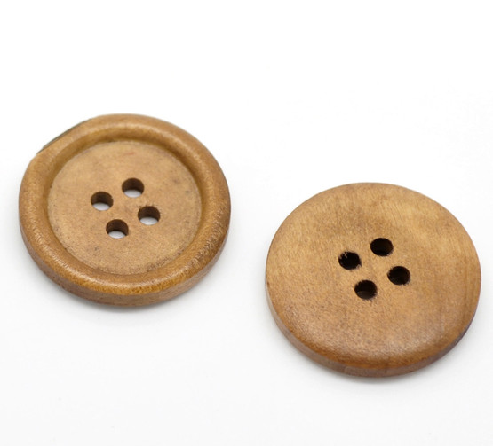 Light coffee colour Round wooden 4 hole Button - 25mm x 1