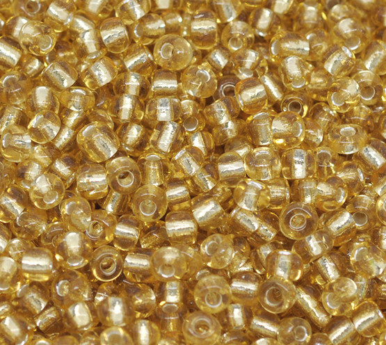Seed Beads 6/0 - Gold colour with foil lining - 10g