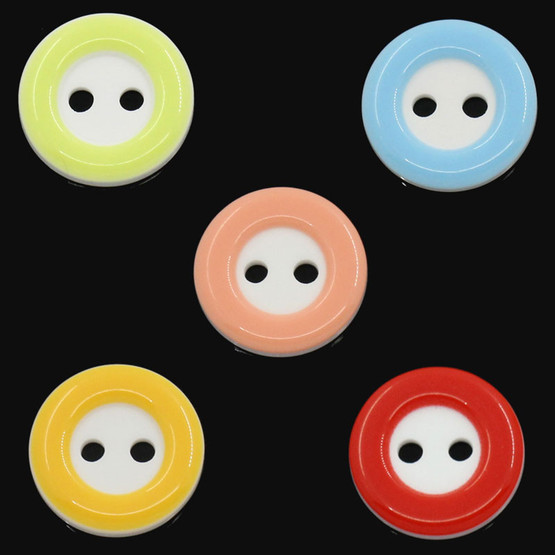 10 x Red Resin 2 hole Button - 12mm