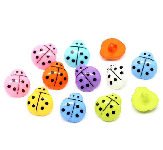 Ladybird Acrylic Shank Button - LIGHT AQUA - 16mm x 15mm