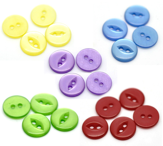 2 hole fish eye plastic Button - PURPLE - 11mm - pack of 10