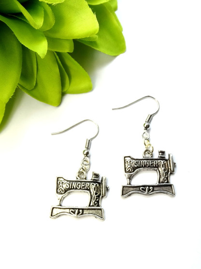 Sewing Machine Earrings - Antique Silver Colour
