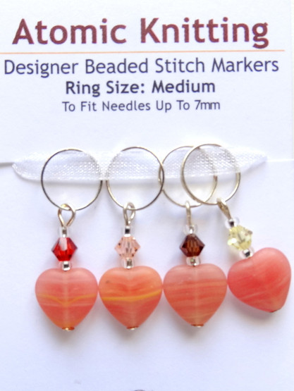 Peachy striped hearts with Swarovski crystals Stitch Markers