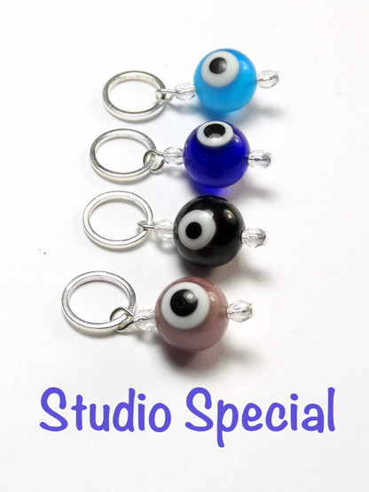 4 Mixed colours Evil Eye stitch markers