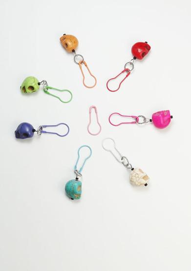 Bright Skulls Stitch Markers - set of 7 - dual fit 4mm/7.5mm