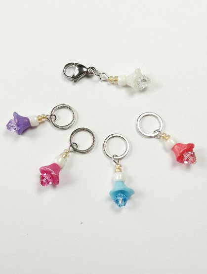 Candy Flowers with Swarovski crystals Knitting Stitch Markers - set of 5