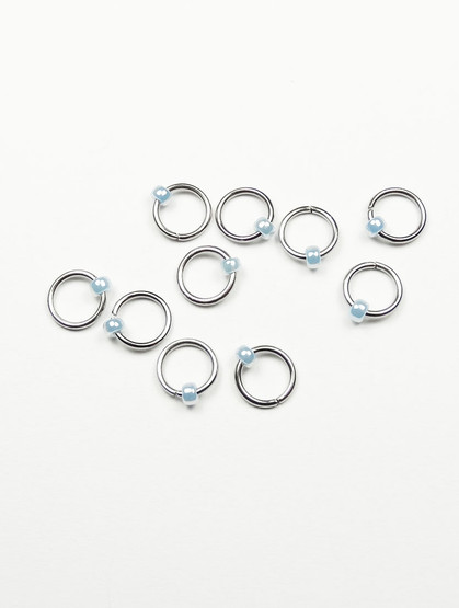 10 Ice Blue Ring Lace Markers 4mm