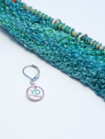 Yarn Over stitch marker (shown with removable/6mm crochet clasp)