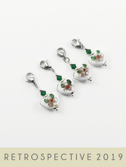 Cloisonne Heart Stitch Markers