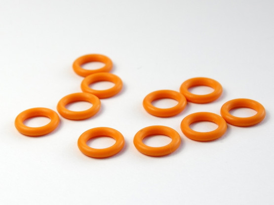 10 Orange Snag Free rubber stitch markers 6mm
