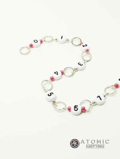 Numbered 99 Counting Row Counter - Cranberry & Silver