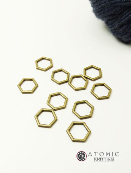 Solid Snag Free 6.5mm Hexagonal Stitch Markers (bronze colour) x 10