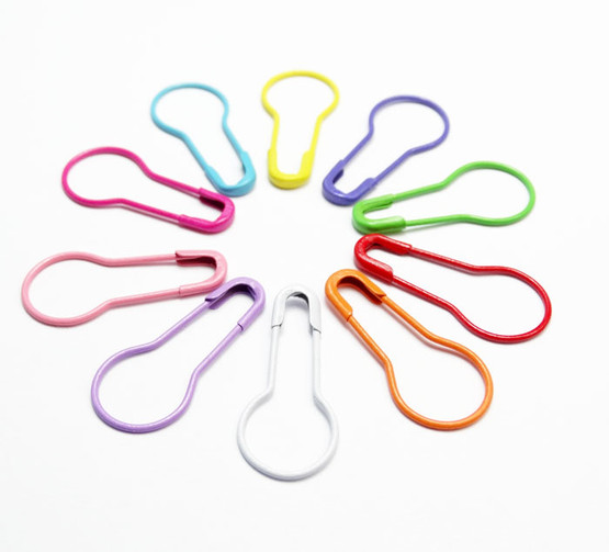 MYSTERY Multi Colour Coil less French Bulb Safety Knitters Pins,  Stitch Markers x 10