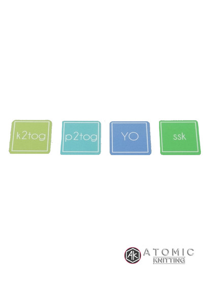 Atomic Knitting YO, SSK, P2TOG, K2TOG Sticker set of 4 - STICKERS ONLY