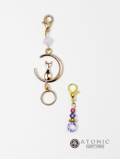 'Cat in the Crescent Moon' Swarovski Beaded Gold Plated Knitters Keeper