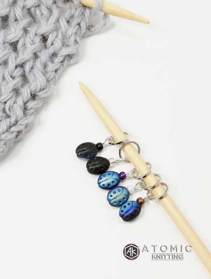 Black Ladybird Stitch Markers - set of 4