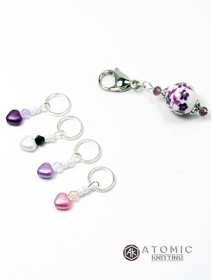 Lovehearts Stitch Markers & Keeper - set of 5 - BHF Charity Edition