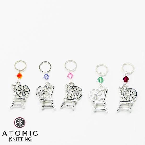 Swarovski Crystal & Spinning Wheel Stitch Marker Set