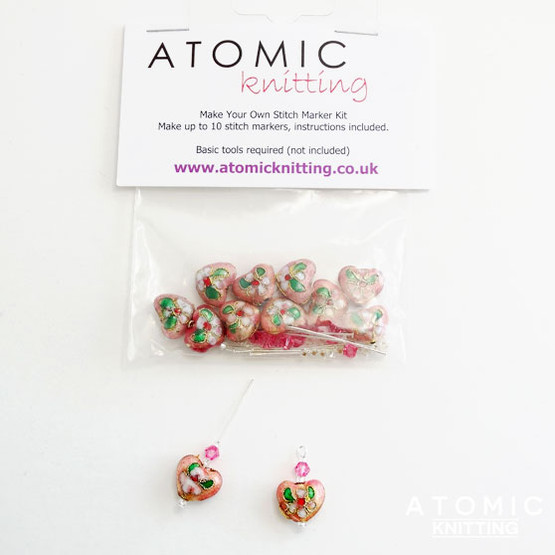 Make Your Own Stitch Marker Kit - Cloisonne Pink Hearts 1