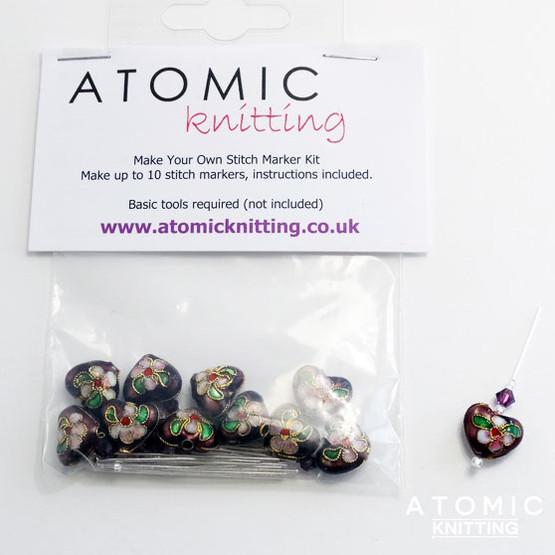 Make Your Own Stitch Marker Kit - Cloisonne Purple Hearts 1