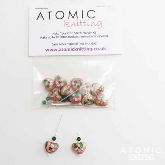 Make Your Own Stitch Marker Kit - Cloisonne Pink Hearts 2