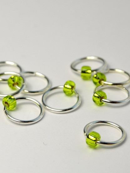 10 Lima Lime Jewel Rings Lace Markers 5mm