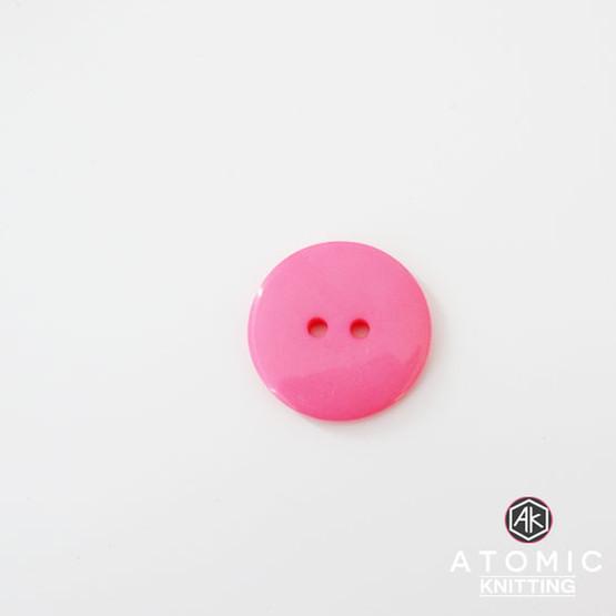 Round Acrylic Button 2 holes - Dark Pink - 22mm