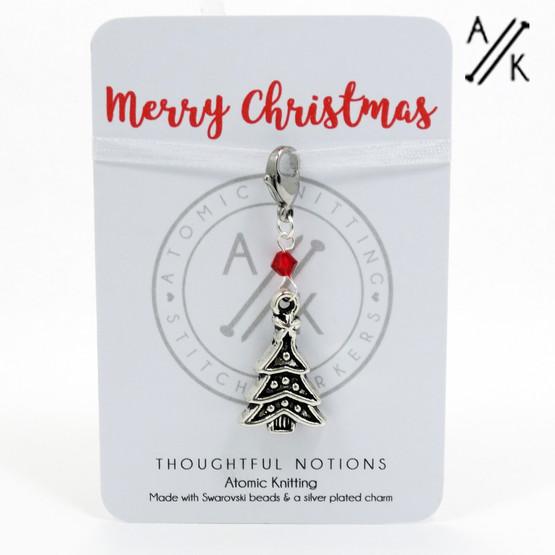 Merry Christmas Charm Progress Stitch Marker   Atomic Knitting