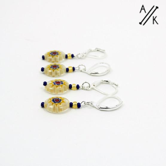 Yellow Millefiori Stitch Markers | Atomic Knitting