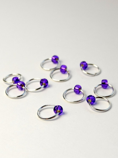 10 Perky Purple Tiny Bead Jewel Rings Lace Markers 4mm