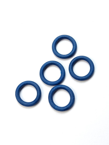 5 Blue Snag Free rubber stitch markers 9mm