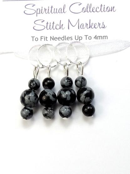 Snowflake Obsidian 7mm Stitch Markers