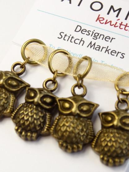 Bronze Owl Stitch Markers
