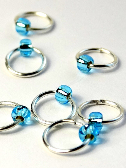 10 Dangle Free Tiny Bead Jewel Aqua Stitch Markers 4mm