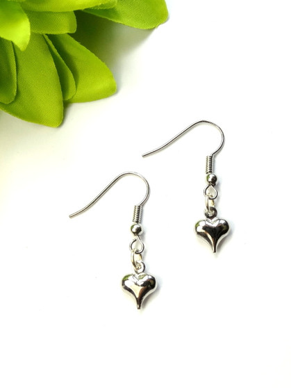 Tiny Hearts Earrings - Antiqued Silver
