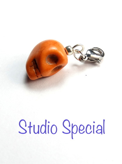 Burnt Orange Skull Progress Stitch Marker