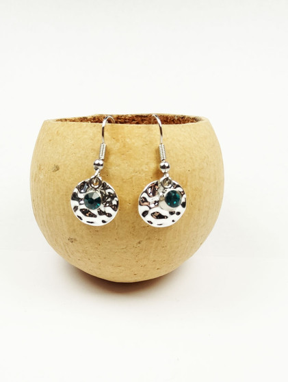 Denim Crystal and Silver plated Hammered Disc Earrings