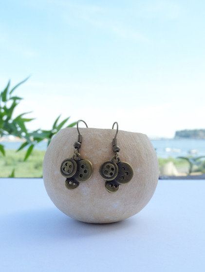Antiqued Bronze Button Earrings