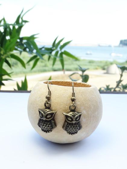 Antiqued Bronze Owl Earrings