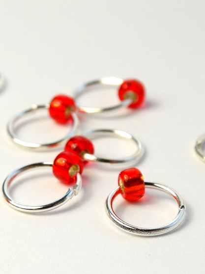 10 Really Red Tiny Bead Jewel Rings Lace Markers 4mm