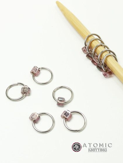 10 Dangle Free Jewel Stitch Markers 6mm -  Metallic Blush Whisper Mix